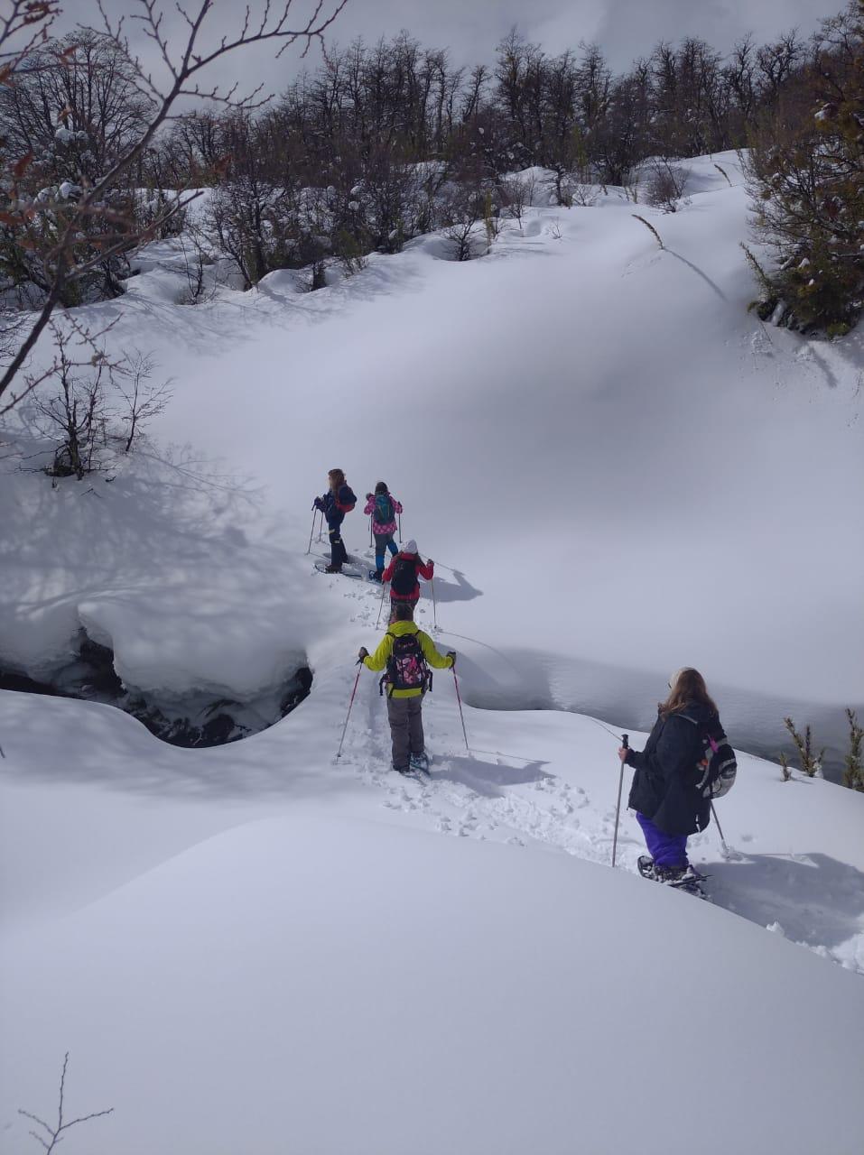 gente caminando en raquetas de nieve